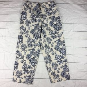 Talbots Stretch Casual Cropped Pant Floral sz 10